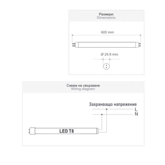 LED пура PRO Т8 10W 4200K 1200Lm едностранно захранване 120Lm/W