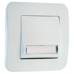 Бутон за звънец с етикет 220V серия LILLIUM NATURAL бял