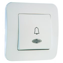 Бутон за звънец със светлинен индикатор 220V серия LILLIUM NATURAL бял