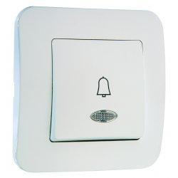 Бутон за звънец с етикет 12V със светлинен индикатор серия LILLIUM NATURAL бял