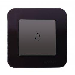 Бутон за звънец с етикет 12V със светлинен индикатор серия LILLIUM NATURAL кафе