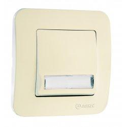 Бутон за звънец с етикет 220V серия LILLIUM NATURAL крем