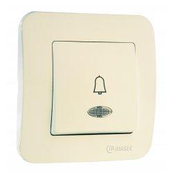Бутон за звънец с етикет 12V със светлинен индикатор серия LILLIUM NATURAL крем