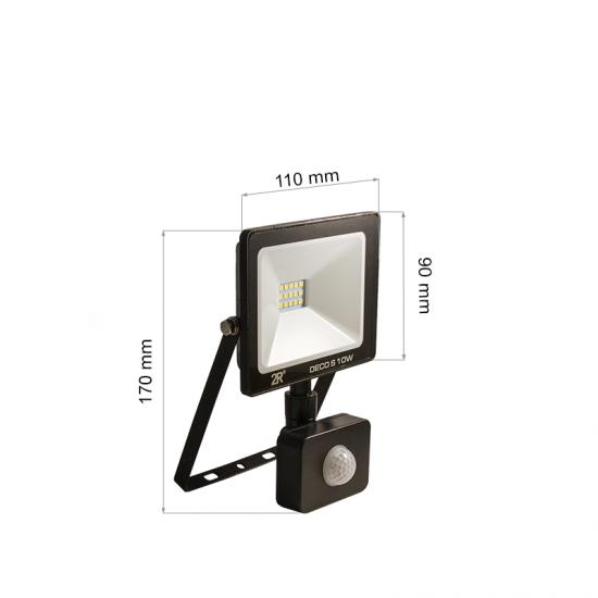 LED Прожектор със сензор Deco 10W 6000K 1000Lm IP65 черен