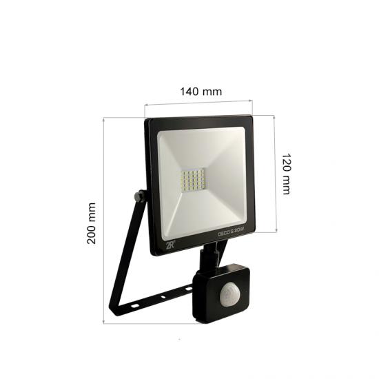 LED Прожектор със сензор Deco 20W 6000K 2000Lm IP65 черен