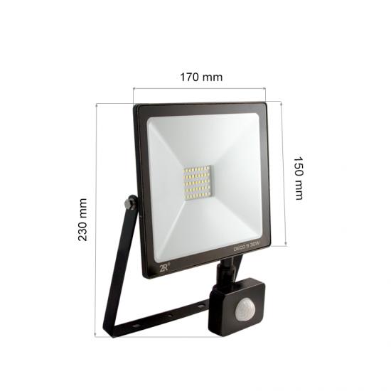 LED Прожектор със сензор Deco 30W 6000K 3000Lm IP65 черен