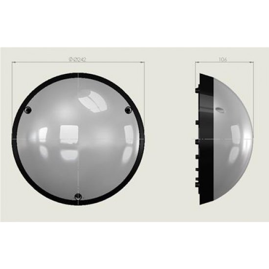LED плафон влагозащитен Fullmoon 12W 6400K IP54 ф24см бял