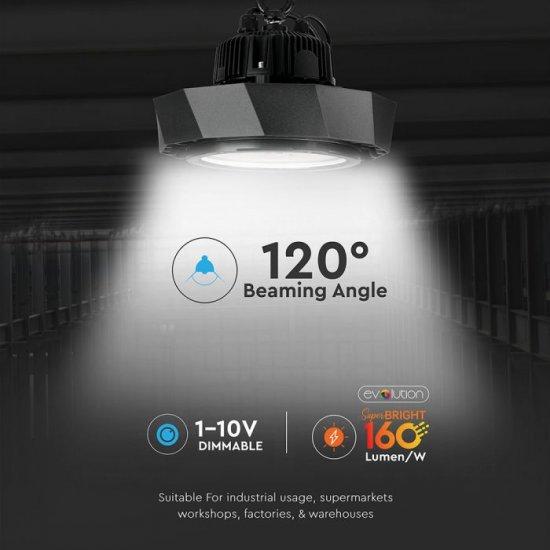 LED промишлен осветител тип камбана SAMSUNG CHIP VT-9-113 100W 6000K 16000Lm IP65 димируем 160Lm/W