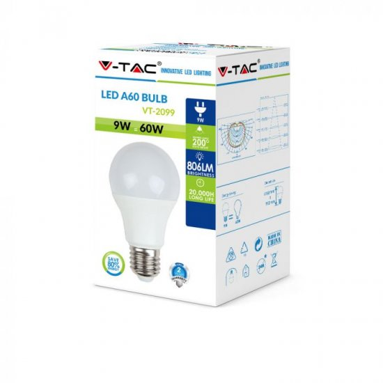 LED крушка E27 VT-2099 9W 6400К 806Lm