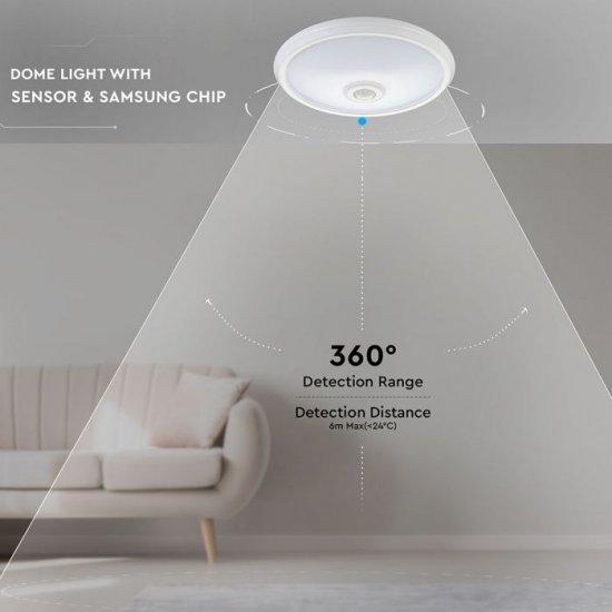 LED плафон със сензор VT-13 Samsung chip 12W 6400K 800Lm IP20 ф29см