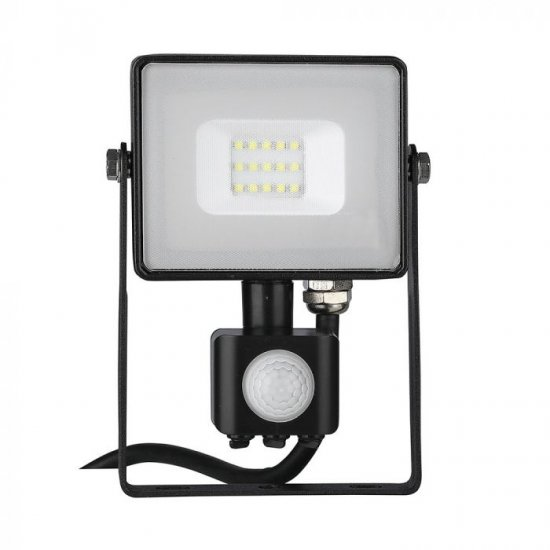 LED прожектор със сензор SAMSUNG CHIP VT-10-S 10W 3000K 800Lm IP65 черен