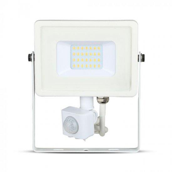 LED прожектор със сензор SAMSUNG CHIP VT-30-S 30W 3000K 2400Lm IP65 бял
