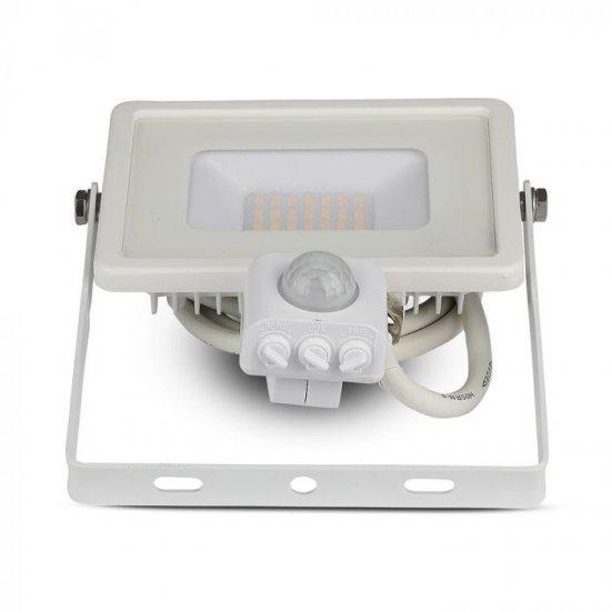 LED прожектор със сензор SAMSUNG CHIP VT-10-S 10W 6400K 800Lm IP65 бял