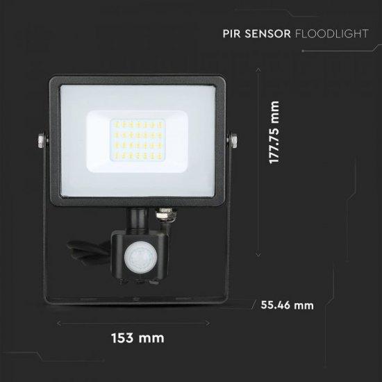 LED прожектор със сензор SAMSUNG CHIP VT-20-S 20W 3000K 1600Lm IP65 черен