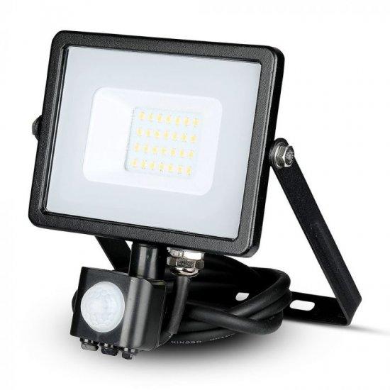 LED прожектор със сензор SAMSUNG CHIP VT-20-S 20W 6400K 1600Lm IP65 черен