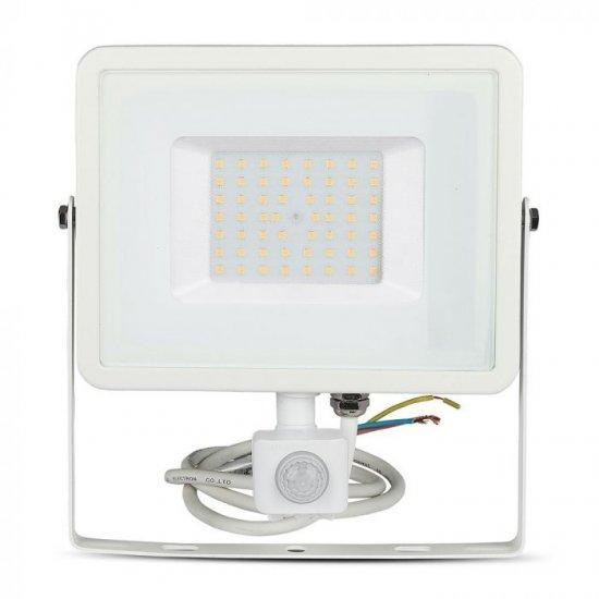 LED прожектор със сензор SAMSUNG CHIP VT-50-S 50W 6400K 4000Lm IP65 бял
