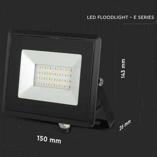 LED прожектор E-Series VT-4021 20W 4000K 1700Lm IP65 черен
