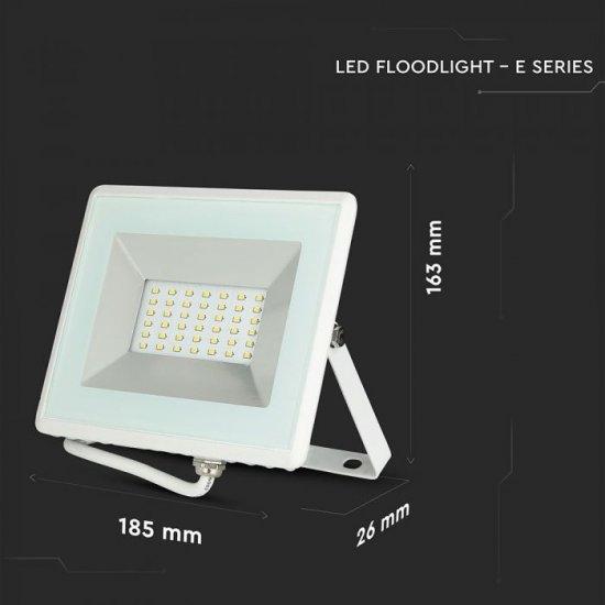LED прожектор E-Series VT-4031 30W 3000K 2550Lm IP65 бял