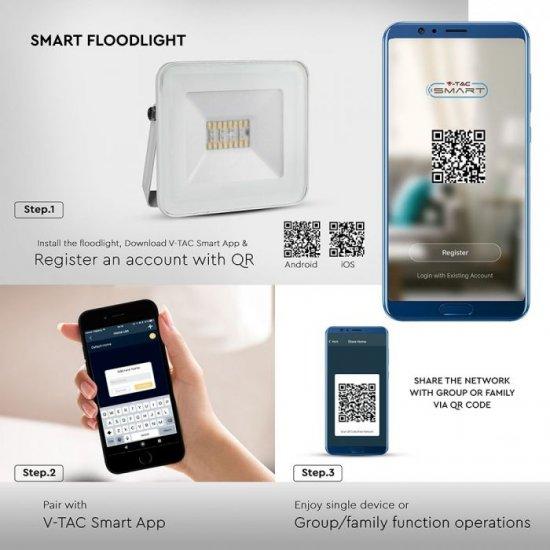 LED прожектор с Bluetooth SMART V-5020-W 20W RGB+3white 1400Lm IP65 бял