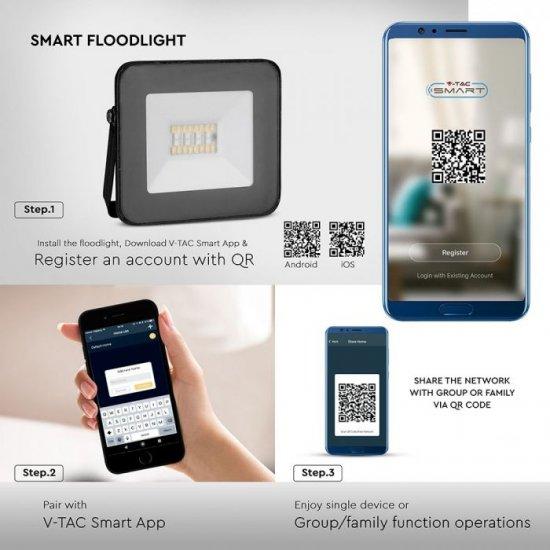 LED прожектор с Bluetooth SMART V-5020-B 20W RGB+3white 1400Lm IP65 черен